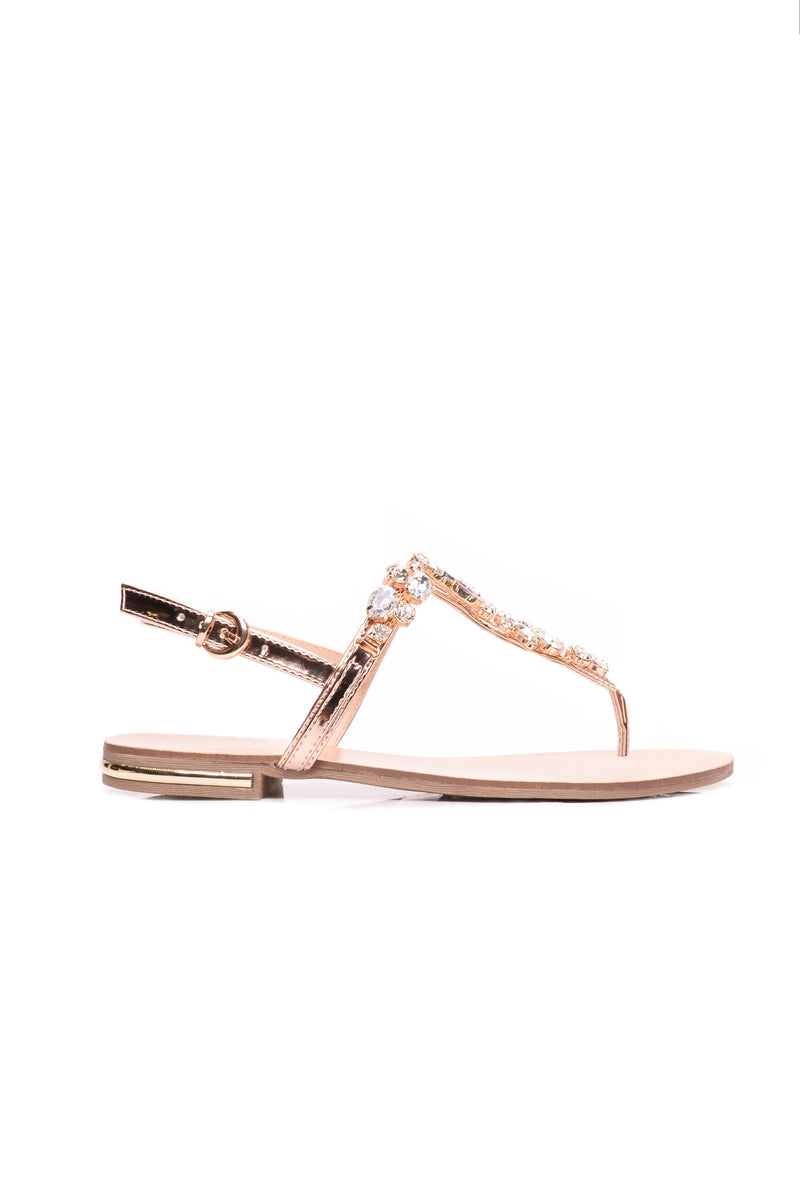 Seductive Step Rhinestone Sandal - Rose Gold
