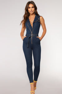 Motor Skill Denim Jumpsuit - Dark Wash