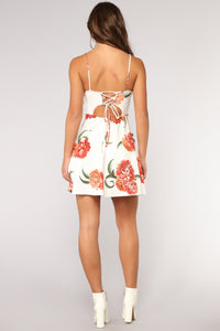Falling for You Again Floral Dress - White