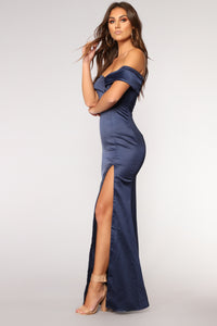Old Hollywood Satin Dress - Navy