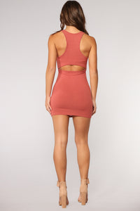 Staying Neutral Cutout Dress - Rust