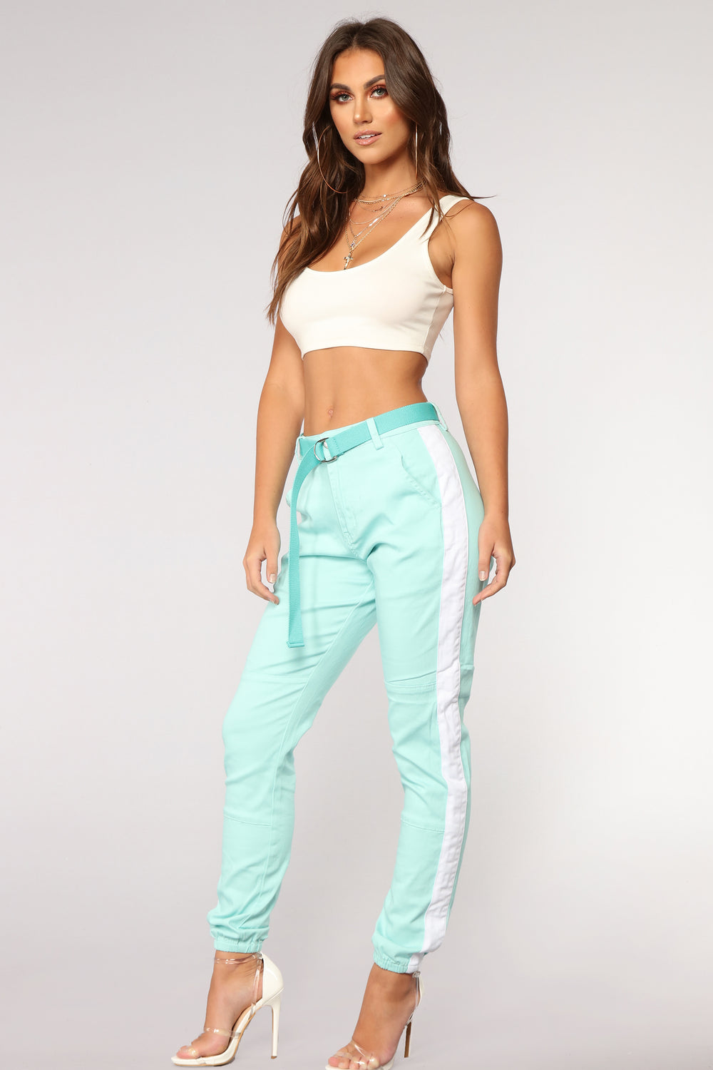 Jada Side Stripe Joggers - Mint