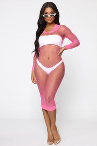 A Total Beach Swim Cover Up Dress - Neon Pink
