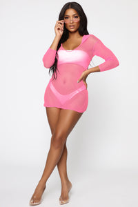 Bay View Swim Cover Up Dress - Neon Pink