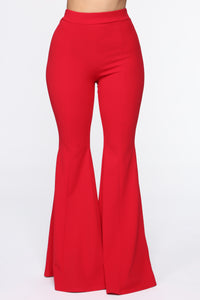 Groove Along Flare Pants - Red