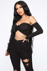 Everything I've Wanted Ruched Top - Black