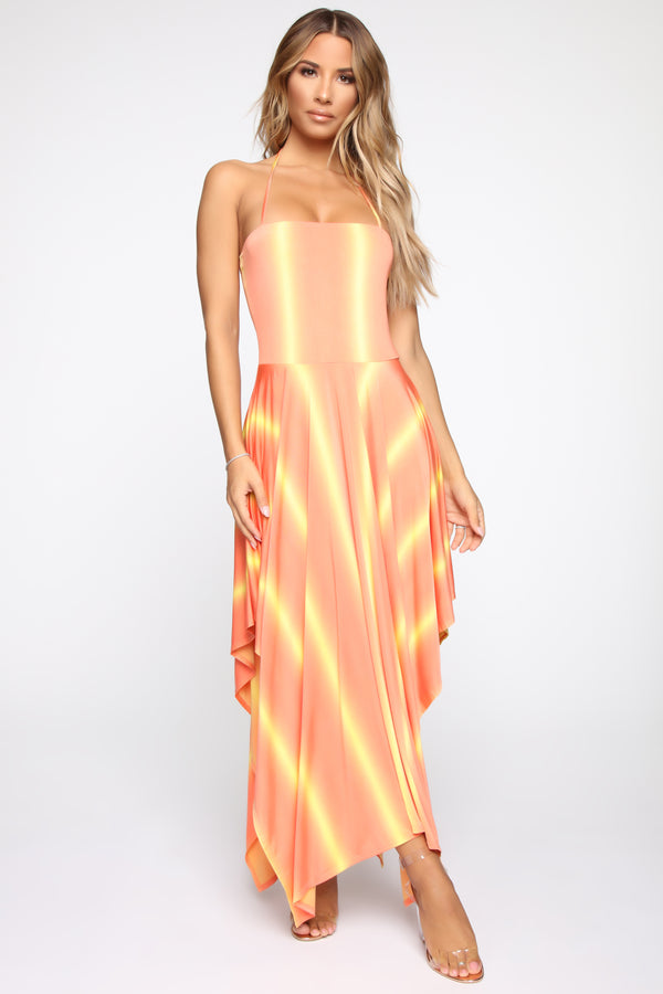 a417c2fef1 Sunset Dreams Midi Dress - Orange Combo