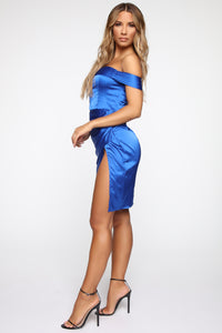 Still Have You Satin Midi Dress - Royal