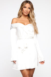 Soft Nights Off Shoulder Mini Dress - Off White
