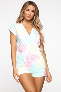 Jump Into It Tie Dye Romper - Multi Angle 1