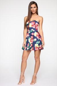 Choose Wisely Floral Mini Dress - Navy/Combo