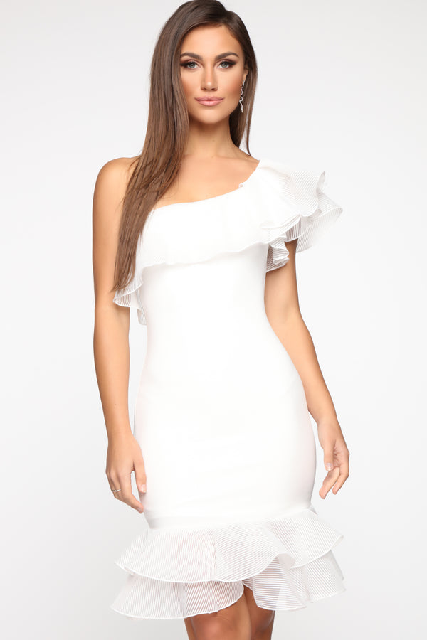 9570666d77c One To Envy One Shoulder Midi Dress - White