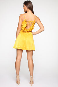 Generally Pleasing Satin Mini Dress - Mustard