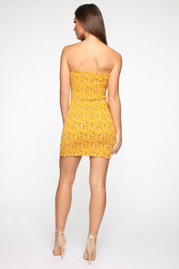 Call Me Sweety Smocked Mini Dress - Mustard