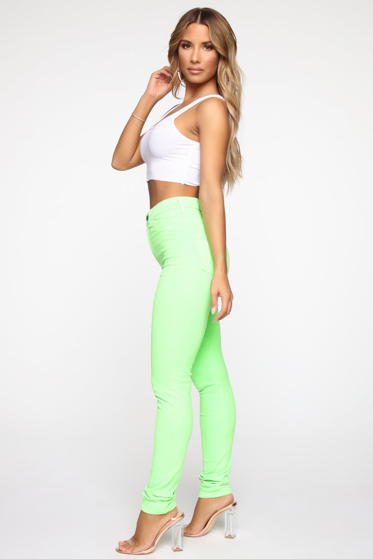 Just The Two Of Us High Rise Jeans - Neon Green