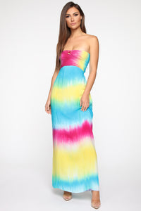 Dyeing To Meet You Tie Dye Maxi Dress - Multi