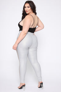 Danielle High Rise Skinny Pants - SIlver Angle 5
