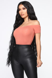 Autumn Off Shoulder Bodysuit - Terracotta Rose Angle 5