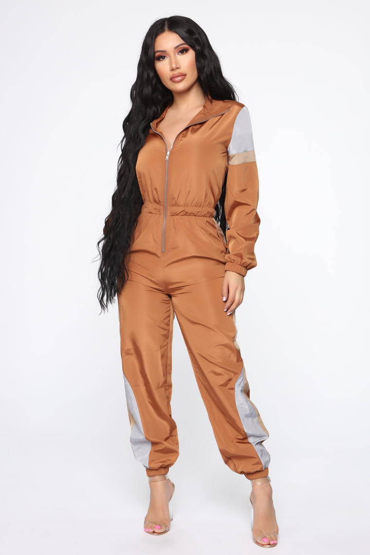 On The Fast Track Windbreaker Jumpsuit - Brown/Combo