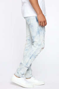 Hustlin Skinny Jean - Bleach Blue Wash Angle 5