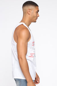 Cousins Tank Top - White/Red Angle 3