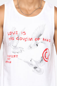 Cousins Tank Top - White/Red Angle 6