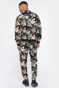 Floral Too Hard Track Jacket - Black/combo
