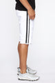 Picture Me Rollin Striped Denim Shorts - White