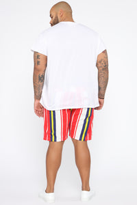 Rogan Striped Twill Short - Red/White