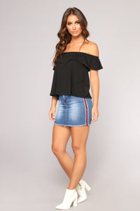 Rita Ruffled Off Shoulder Top - Black