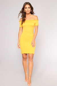 Terry Smocked Dress - Mustard
