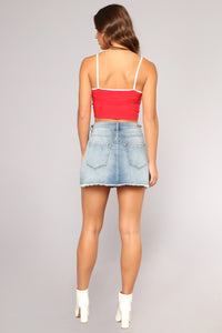 Adulting Is Hard Crop Top - Red