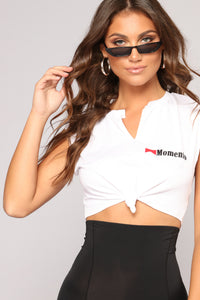 Give Me A Minute Crop Top - White