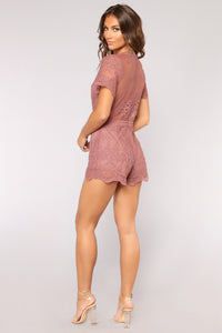 Set The Intention Lace Romper - Lavender