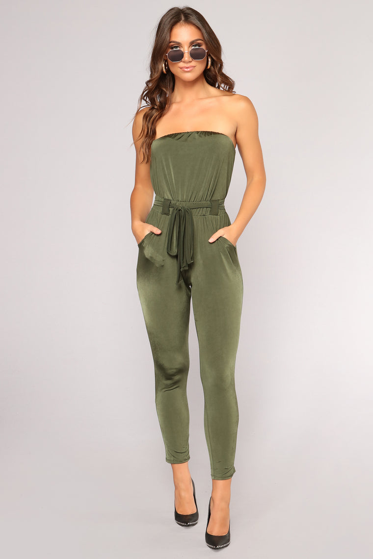 Let Your Guard Down Jumpsuit - Olive