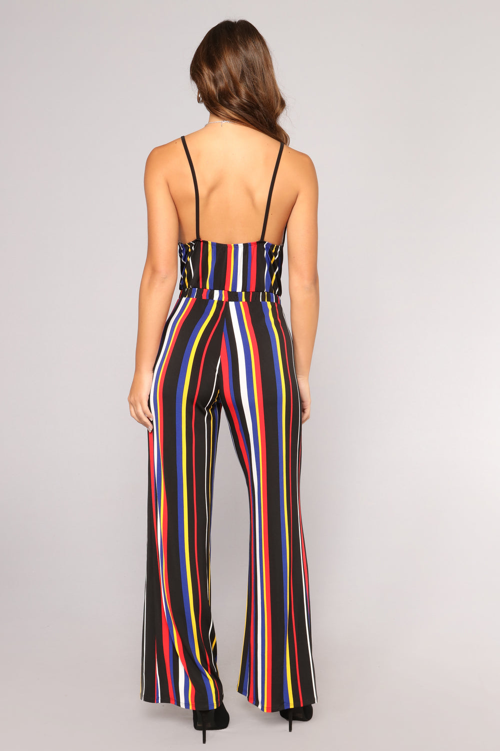 Stick To Your Day Job Stripe Jumpsuit - Red/Multi
