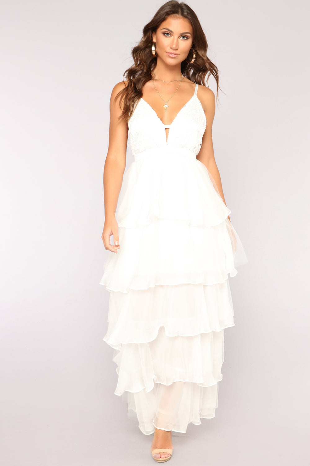 Kisses And Wishes Ruffle Dress - Ivory