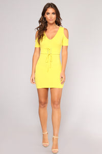 She's Tight Cold Shoulder Dress - Yellow