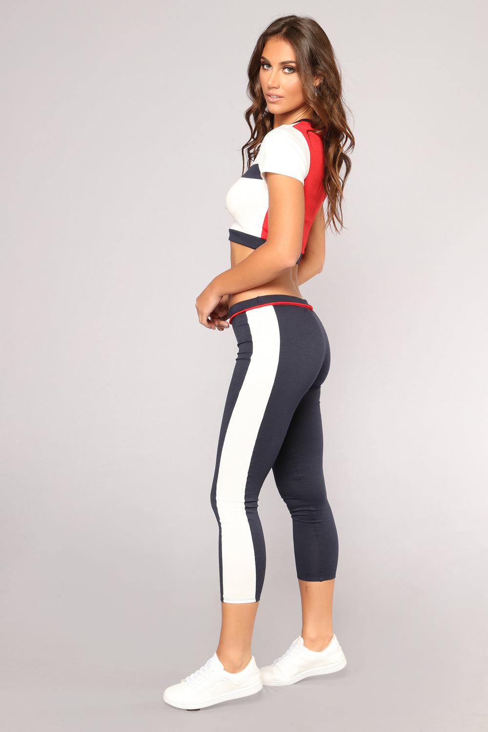 Back And Forth Pant Set - White/Navy