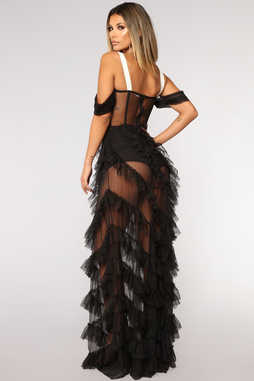 Demand An Encore Mesh Dress - Black