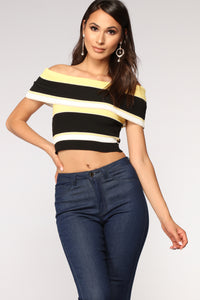 Shelly Off Shoulder Striped Top - Yellow/combo