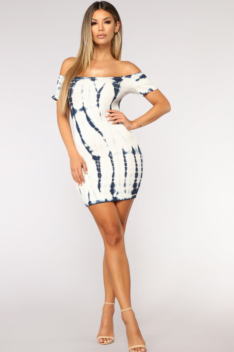 Tied To Your Love Tie Dye Dress - White/Blue