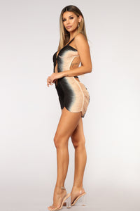Amiah Dress - Black/Taupe