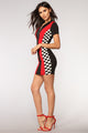 Motosport Midi Dress - Black/Red