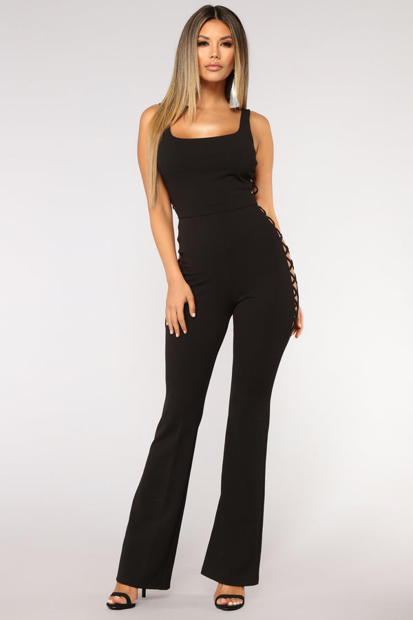 b2e610cce14 Affair In Times Square Lace Up Jumpsuit - Black