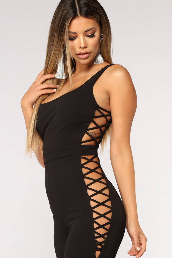 2a0ff95ce07 Affair In Times Square Lace Up Jumpsuit - Black