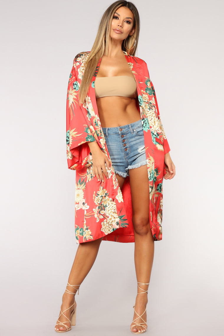 Peace And Serenity Kimono - Red/combo