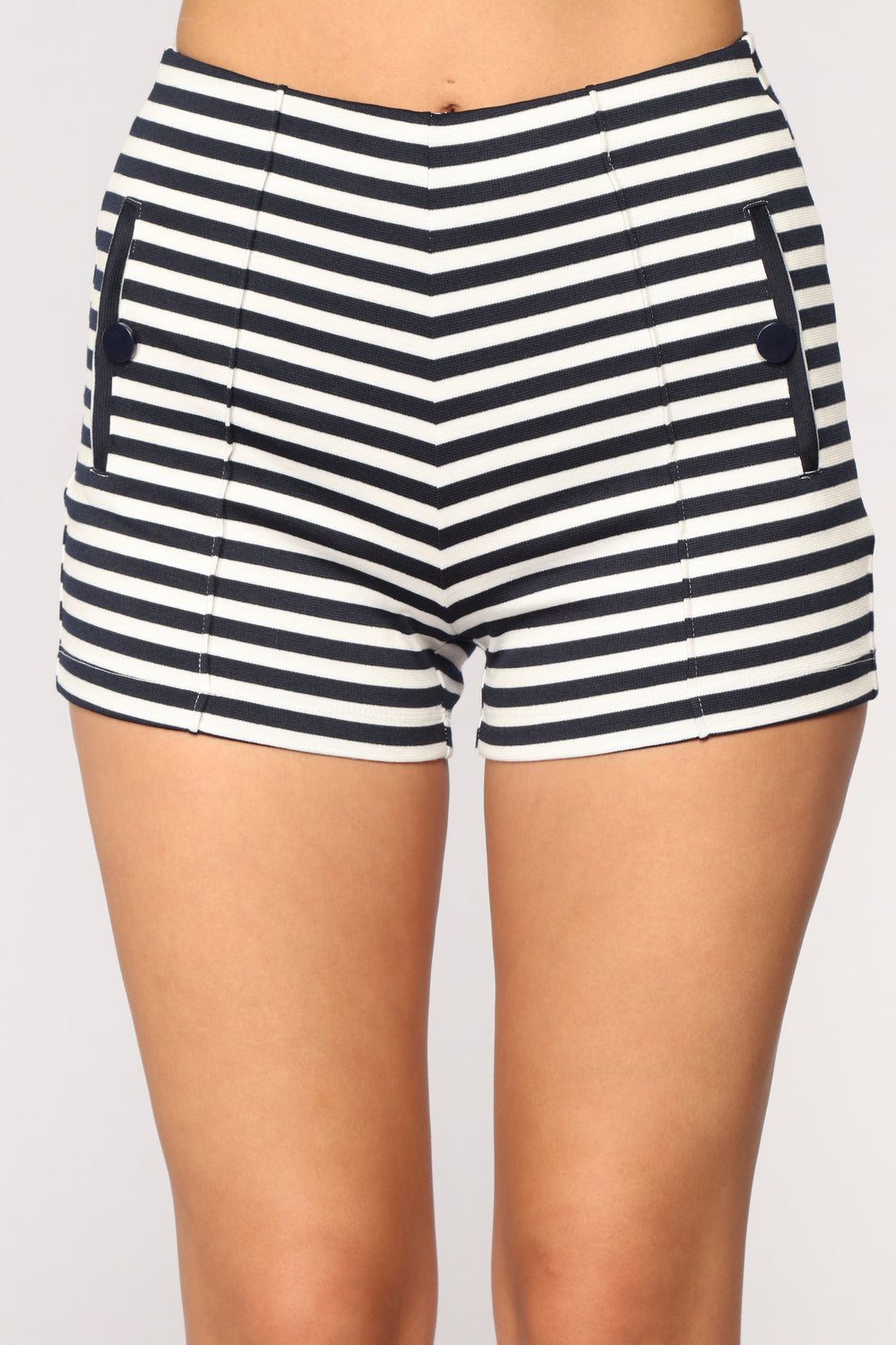 McKinley Striped Shorts - Navy/White