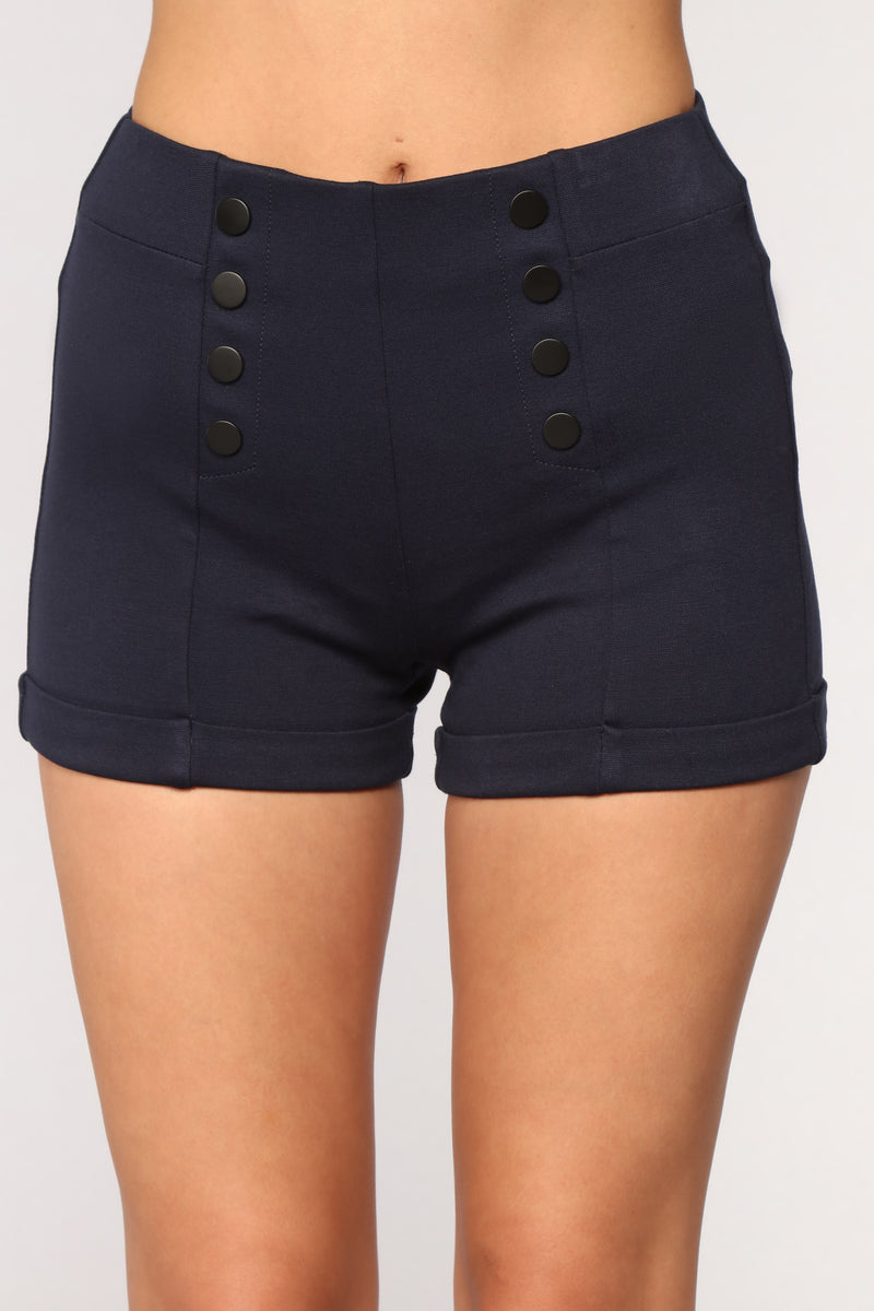 Meet Me On The Yacht Ponte Shorts - Navy