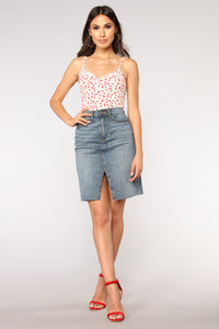 Mid Love Denim Skirt - Medium Blue Wash